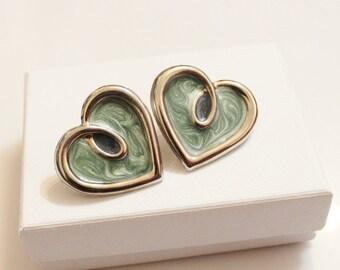 Vintage Heart Earrings , Enameled Earrings