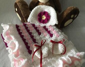 Pink, Purple Zig Zag Blanket, Crochet Baby Blanket