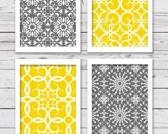 Printable Wall Art, Printable Art, Printable Art Set, Yellow and Gray Art, Gray and Yellow Wall Art, Bedroom Art, INSTANT DOWNLOAD