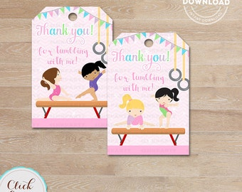 Gymnasitcs Favor Tags, Gymnastics Thank You Tags, Gymnastics Gift Tags, Tumbling Favor Tags, Printable Decoration, Instant Download