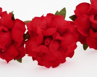 Bright Romantic Red Rose Floral Hair Pin Set/ Bridal/ Wedding Hair Accessories/ Bridesmaid Hair Pin/ Wedding Flower Pins