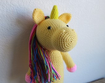 Crochet Huge Unicorn Toy pink purple rainbow bright yellow multi-color amigurumi