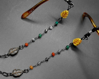 Beaded Leaf Eyeglass Chain Fall Leaves Autumn Themed Glasses Holder Eye Glass Lanyard