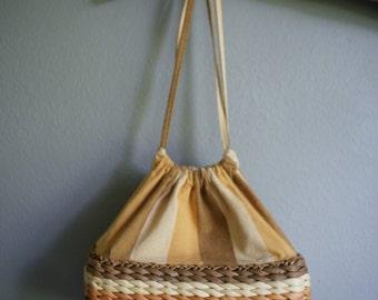 Vintage STRAW Canvas PICNIC Basket PURSE