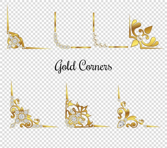 Gold Corner Page Divider Clipart Set Of 15 Various Decorative Elements In Diamond Pearl Instant Download PNG Business Use