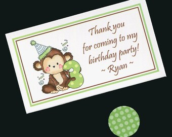 20 Personalized Favor Bags With Candy Stickers - Birthday Party Favor Bags - Goody Bags - Treat Bags - Candy Bag - Third Birthday - Monkey