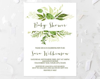 96afe1e79b97 Printable Baby Shower Thank You Note Green Leaf Thank You