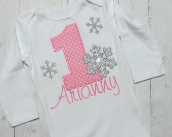 Personalized Snowflake Winter Wonderland Birthday Shirt Winter ONE-derland birthday ONEderland Birthday Shirt Personalized Birthday shirt