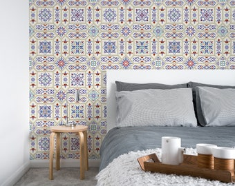 Moroccan Wallpaper, Peel and Stick, Temporary Wallpaper, Watercolor Wallpaper, Tile Wallpaper, Self adhesive Wallpaper - A128