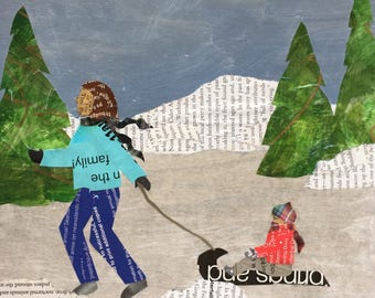 Bundle Up and Ride - original mixed media collage