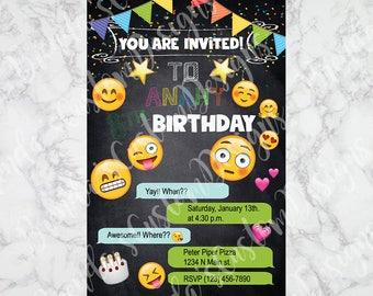 Emoji Custom Birthday Invitations