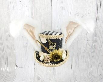 White Rabbit - Black and Beige Steampunk Medium Mini Top Hat Fascinator, Alice in Wonderland, Mad Hatter Tea Party, Derby