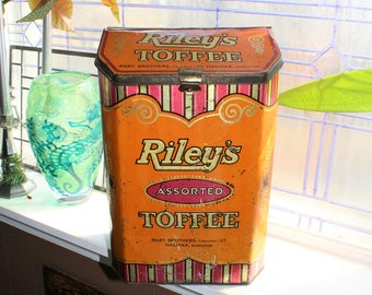 Antique Riley's Toffee Tin Large Store Display Bin 1920s 14.75""