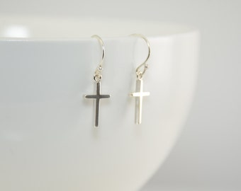 Sterling silver cross earrings, Small elegant silver cross earrings, First Communion gift