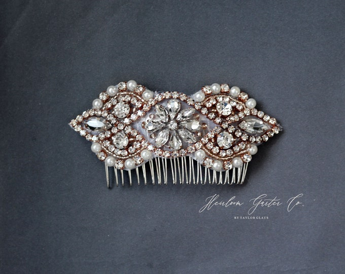Rose Gold Wedding Hair Comb, Pearl and Rhinestone, Bridal Headpiece, Rhinestone Hairpiece, Hair Jewelry, Bridesmaid, Hair Accessory, 60RG