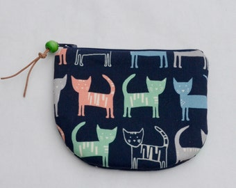 Kawaii Cats Padded Round Zipper Pouch / Coin Purse / Gadget / Cosmetic Bag - READY TO SHIP