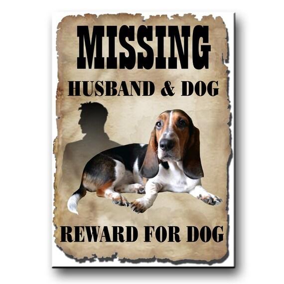 Basset Hound Husband Missing Reward Fridge Magnet No 2