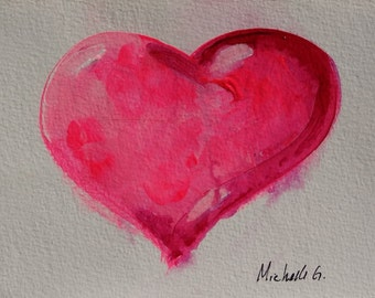 Pink Heart, Original Fine Art Painting on Watercolor Paper 5 x 7, Daily Painting, Small Artwork