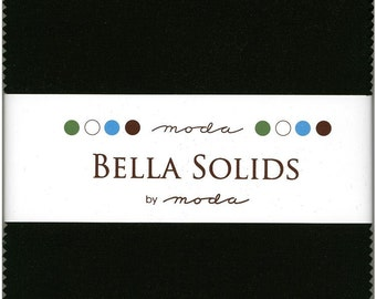 Bella Solids Black Charm Pack, Set of 42 5-inch Precut Cotton Fabric Squares (9900PP-99)
