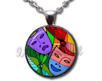 Theater Mask Tragedy Comedy - Round Glass Dome Pendant or with Necklace by IMCreations