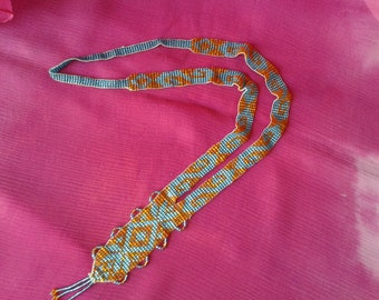"""Art Deco"" glass bead woven necklace"
