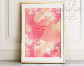 Abstract painting, PRINTABLE art, Brushstroke art, Modern art, Contemporary art, Pastel wall art, Coral print, Coral wall decor, Digital art