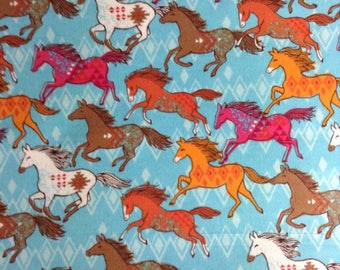 One Half Yard Piece of Fabric -  Colorful Running Horses, FLANNEL