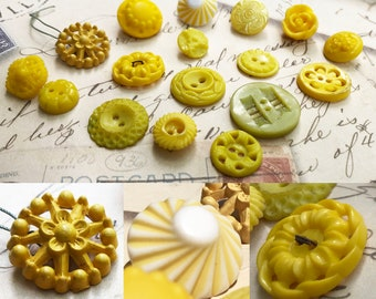 Yellow Buttons Vintage Buttons Sewing Buttons Shank and Sew Through Buttons Vintage Jewelry Supplies DIY Craft Supplies 17 Buttons- B193
