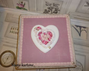 "Sewing box shabby vintage""the heart of Roses"" box for keepsakes, watches or jewelry for woman or girl"