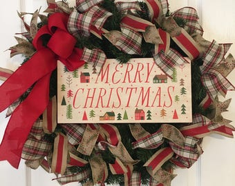 Christmas Wreath, Holiday Wreath, Merry Christmas Wreath, Classic Christmas Wreath