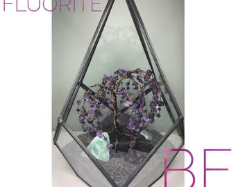 Amethyst & Fluorite Crystal Peace Garden in Geometric Terrarium