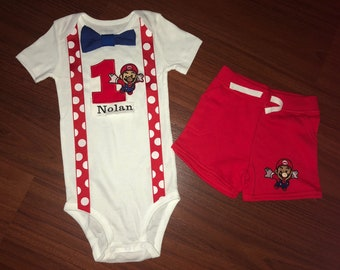 Super Mario Brothers first birthday baby boy outfit