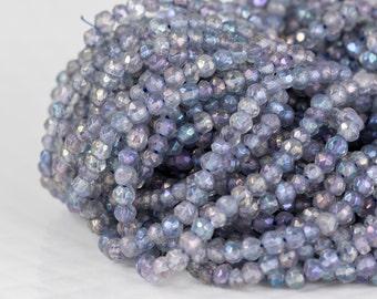 Purple Quartz Faceted Rondelles, 3mm, Mystic Coated Purple Quartz Gemstone Beads, Full 13 Inch Strand - Item 265