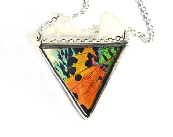 Real Butterfly Wing Necklace Sunset Moth Faceted Jewel Triangle Geometric Butterfly Gift For Mom Girlfriend Teacher