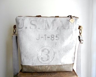 US Mail, waxed military canvas tote, carryall, diaper bag - eco vintage fabrics