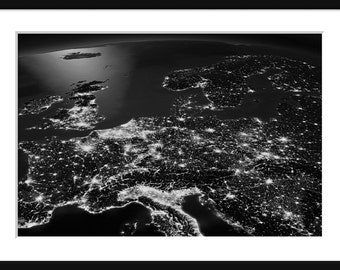 NASA - Earth At Night - Central Europe - Print - Poser - Black and White