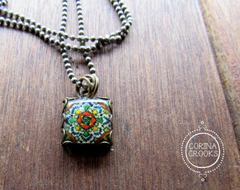 Tile necklace, Mexican tile design, Charm necklace, Folk art jewelry, festival jewelry, Mexican rose earrings