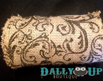 """Burlap Black and Natural Scroll Ribbon 5 1/2"""" - Home Decor - Bows - Crafts - Weddings - Baby Showers"""