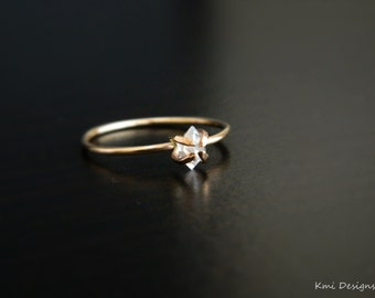 Herkimer Ring, Promise Ring, Gold Engagement Ring, Rose Gold Ring, April Birthstone, Solitaire Ring, Anniversary Ring