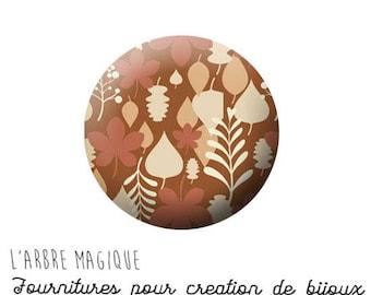 Cabochon fancy 25 mm autumn leaf brown beige ref 1294