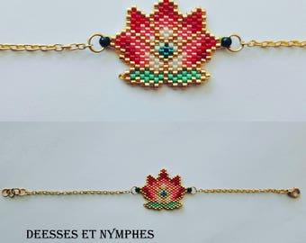 Gold Bracelet, lotus beads Miyuki - goddesses and nymphs collection