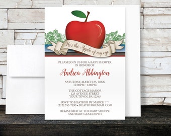 Red Apple Baby Shower Invitations Boy - Apple of My Eye with Green Blue and Brown - Printed Invitations
