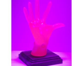 Neon Pink Female POP-Hands, Colorful device holder for phones, tablets, business cards, etc. Customize the base color