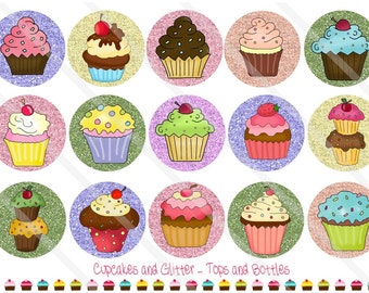 Cupcakes and Glitter 1 Inch Circles Collage Sheet for Bottle Caps, Hair Bows, Scrapbooks, Crafts, Jewelry & More