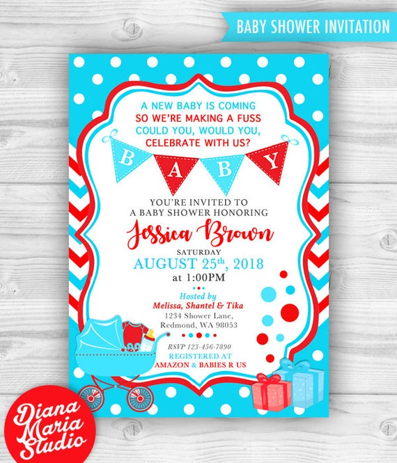 Printable dr seuss baby shower invitations for one baby or twins dr seuss baby shower invitation filmwisefo