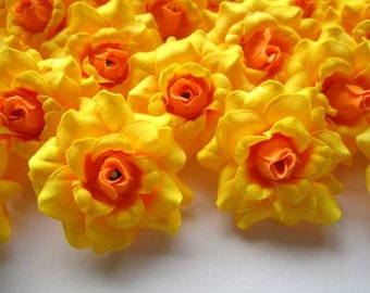 24 Yellow mini Roses Heads - Artificial Silk Flower - 1.75 inches - Wholesale Lot - for Wedding Work, Make clips, headbands