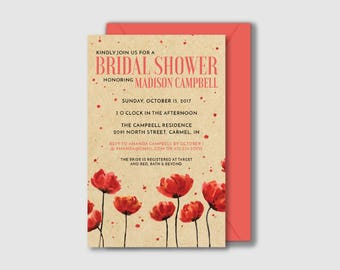 Printable Bridal Shower Invitation - Red Poppies