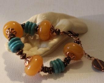 Agate And Turquoise Statement Bracelet/Natural Stone Bangle Bracelet/Mothers Day Gift/Agate Chunky Bracelet/Copper Gemstone Charm Bracelet