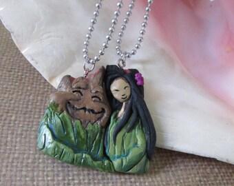 I lava you -Volcano  friendship necklace set