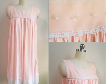 1960s 60s Vintage Pink Nightgown Lace Embroidered Loungewear Women's Sleepwear Vintage Lingerie Knee Length Nightie